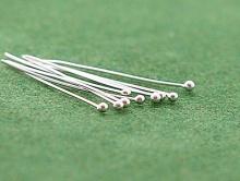 Пин средний серебряный с шариком 1.5 мм. для изготовления ювелирных украшений.