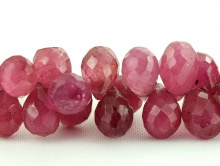 натуральный камень-корунд (рубин), бусина бриолет огранённый 7.3-7.7 мм