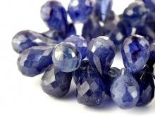 Бусина малый бриолет огранённый 8.5 мм. натуральный камень-корунд (сапфир), цвет-синий полупрозрачный,