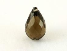 Бусина огранённая формы бриолет, камень раух топаз ручной огранки, цвет-золотисто-коричневый прозрачный, чистый.