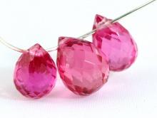 бриолет (бусина) из шпинели розовой, форма капля крупная 11х7 мм.