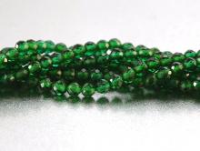Нить бусин, форма-шарик круглый, шпинель зелёная прозрачная, камень (иск. выращенный).