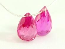 Бусина бриолет огранённая из розовой шпинели для серёг и подвесок