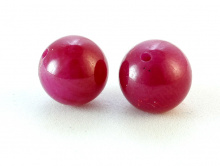 Бусина, форма-шарик полированный, шпинель розовая полупрозрачная на просвет, камень-шпинель (иск. выращенный на основе корунда).