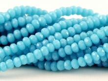 Рондели мелкие-бусины огранённые стеклянные, размер 3х2 мм. (+- 0,1 мм.). вн.отв. 0,6 мм. Цвет бусин- бирюзово-голубой, матовый.