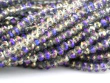 Рондели мелкие-бусины стеклянные огранённые, размер: 2,8х2 мм. (+- 0,1 мм.). вн.отв. 0,6 мм. Цвет бусин-прозрачный с сиренево-фиолетовым переливом.