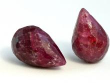 Бусина огранённая, форма бриолет, камень-аметист натуральный, ручная огранка, цвет-сиренево-фиолетовый,