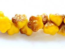 Бусина жёлто-коричневый с элементами золотого напыления.
