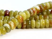 Бусина рондель гладкая, камень натуральный-хризопал (празопал, зелёный опал),