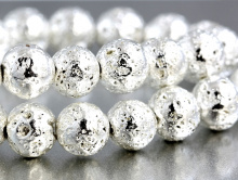 Бусины колорированные из вулканической лавы природного происхождения. Легкий камень с пористой поверхностью, цвет: серебро белое, диаметр 8.5 мм