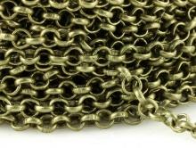 Цепочка паяная 3.2 мм, средняя, цвет латунь состаренная (зеленоватый), плетение франзузкое,