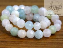 Нить бусин-микс, форма-шарик круглый, камень натуральный-берилл: аквамарин, морганит. Цвет-полупрозрачный голубой, розовый, зелёный, оттенки нежные (3 тона),.