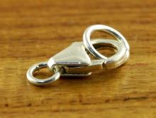 замочек лобстер серебряный, с двумя колечками Материал-Серебро 925 пробы (92.5 %).