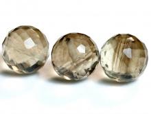 Огранённаябусина-шарик ручной огранки, камень-раух топазнатуральный(дымчатый кварц), цвет-золотисто-коричневый,