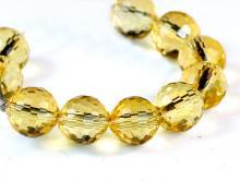 """Бусина шарик 6 мм., ограненный, камень-цитрин (исскуственно выращенный) Цвет-сочный желтый, чистый, огранка """"соты"""","""