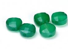 Бусина огранённая, форма-плоская таблетка, камень натуральный-хризопразцвет-зеленый насыщенный полупрозрачный