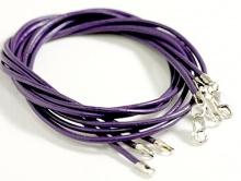 Кожаный шнурок с замком 925 пр. (цв. фиолетовый)