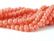 Бусины из натурального коралла. Цвет-красивый розово-персиковый, теплый, с лёгким оранжевым оттенком.