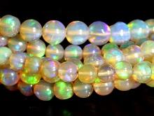 """Бусина 4,5 мм. средний гладкий шарик, камень """"Благородный опал"""" природного происхождения."""