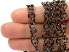 Цепочка крупная цвет чёрный для создания бижутерии, браслетов
