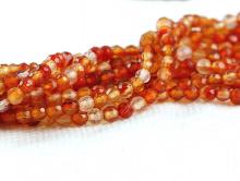 Нить бусин-форма мелкий шарик, ограненный,камень-сердоликнатуральный, цвет-микс: оранжевый яркий и светлый, (1 сорт),размер–3 мм. вн. отв.