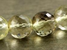 бусина ограненный шар, золотисто-коричневый, прозрачный