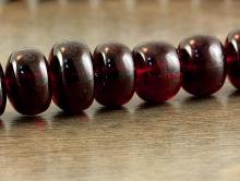 Бусина формы рондель, камень-гранат красный  (андраит), натуральный полированный. Цвет-красно-коричневый чистый (1 сорт).