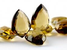 Бусина огранённая, бусина форма ограненного остроконечного лепестка, ручная огранка, камень-золотистый топаз натуральный,