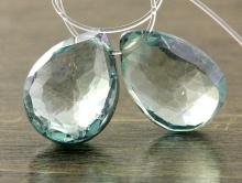 Бусина огранённая, форма-лепесток, натуральный камень празеолит-зелёный аметист, цвет--нежно-зеленый, с холодным салатовым оттенком,