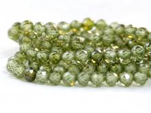 Нить бусин огранённых шариков, камень –циркон натуральный ограненный.Цвет-теплый зелёный, прозрачный с хорошей огранкой,