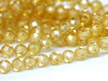 Нить бусин огранённых шариков, камень –циркон натуральный ограненный.Цвет-желтый сочный, прозрачный с хорошей огранкой, диаметр-3 мм.