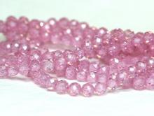 Нить бусин огранённых шариков, камень –циркон натуральный ограненный.Цвет-теплый розовыйпрозрачный с хорошей огранкой, диаметр-3 мм.