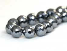 Бусины огранённые круглые, натуральный камень марказит. Цвет-тёмно-серебристый с сильным металлическим блеском,