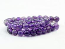 Нить бусин мелких гладких, камень-аметистнатуральный, цвет-сиренево-фиолетовый, не тёмный,