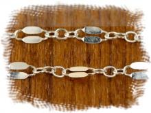 Цепочка паяная серебряная, материал: Sterling Silver (состав: серебро 925 пробы) средняя, для создания украшений, плетение: цепочка состоит из двух разных звеньев