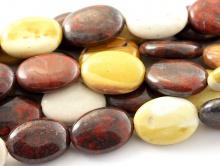 Бусины–яшма натуральная мукаит, форма овальная, цвет-микс: сургучный, кремовый, желто-коричневый.