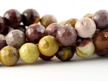 Бусины круглые огранённые из натурального камня–яшма мукаит, цвета-основные: кирпичный и жёлтый приглушенные, размер-8 мм.