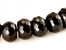 Бусина огранённая камень-натуральный агат, форма крупная рондель, цвет-черный, размер–10.5х14.5 мм.,
