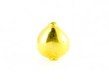 """Бусина из серебра позолоченная, форма """"Сердечко"""", металл-стерлинговое серебро с покрытием 24 cr золота,"""