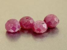 Бусина- рондель ограненная, натуральный камень-корунд (рубин). Цвет-малиново-розовый приглушенный.