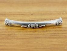 Серебряная бусина декоративная трубочка цена за 1 шт.