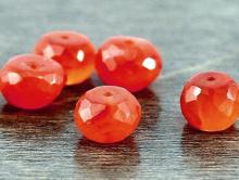 огранённая рондель камень натуральный-сердолик, цвет- сочный оранжевый