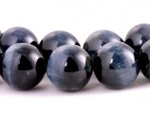 """Бусина круглая, камень натуральный петерсит с эффектом """"соколиный глаз"""" полированный, цвет-темно-серый с серо-голубым переливом"""