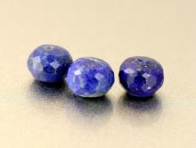 Бусина рондель огранённая, камень натуральный–лазурит, цвет-сочный синий с редкими пиритовыми включениями,