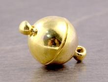 Магнитный замочек-застежка для изготовления украшений, размер замочка: общ. длина/диаметр-12 мм., длина-19 мм. вн. отв. 1.3 мм. цвет: жёлтое золото,