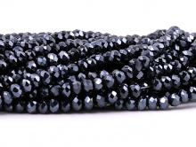 Стеклянные мелкие-бусины, рондели огранённые, размер: 3х2 мм. (+- 0,1 мм.). вн.отв. 0,6 мм. Цвет бусин-чёрный непрозрачный, цена за нить 43 см