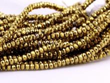 Рондели самые мелкие-бусины огранённые стеклянные, цвет бусин-золото, размер 2.5х1.8 мм.