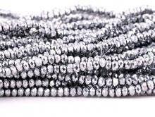 Рондели самые мелкие-бусины огранённые стеклянные, цвет бусин-серебро, размер 2.5х1.8 мм.