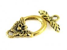 "замок тогл ""Цветок"" (металл). Цвет-античное золото. Размер-25х17.5х2.7 мм."