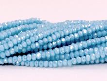Рондели мелкие-бусины стеклянные огранённые, размер: 2,5х1.8 мм. (+- 0,1 мм.). вн.отв. 0,5 мм. Цвет бусин-непрозрачный, бирюзово-голубой, с радужным переливом